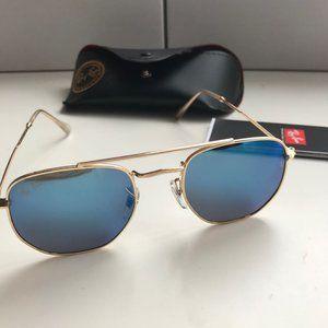 Ray-Ban Hexagonal RB3548 Gold Frame/Blue Lenses